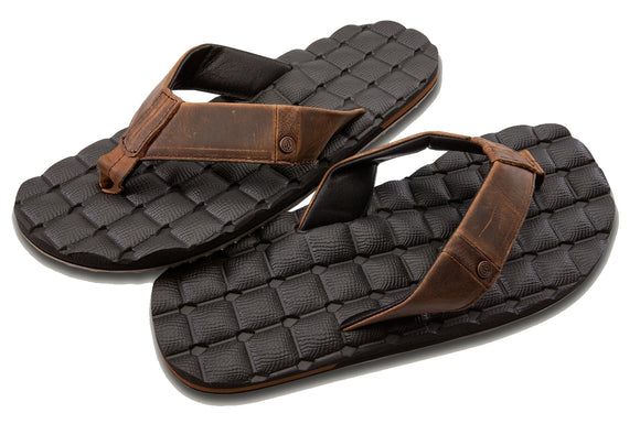 Volcom - Recliner Leather Sandals | Vintage Brown