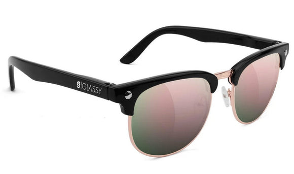 Glassy - Morrison Sunglasses | Black / Pink Mirror