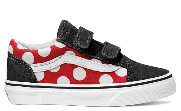 Vans - Kids Old Skool V Shoes | Black Red (Polka Dot)
