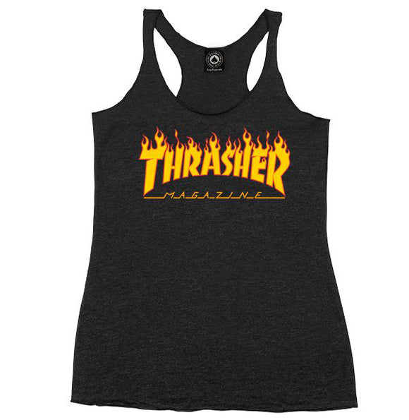 Thrasher - Girls Flame Logo Racerback Tank | Black