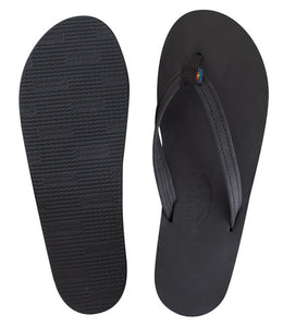 Rainbow - Women's Single Layer Leather Sandals | Black (Narrow Strap)