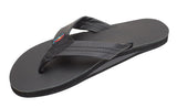 Rainbow - Women's Single Layer Leather Sandals | Black