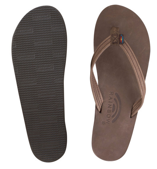 Rainbow - Women's Single Layer Leather Sandals | Expresso (Narrow Strap)