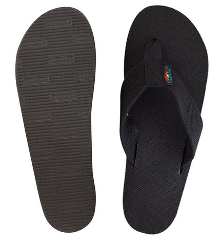 Rainbow - Women's Single Layer Hemp Sandals | Black