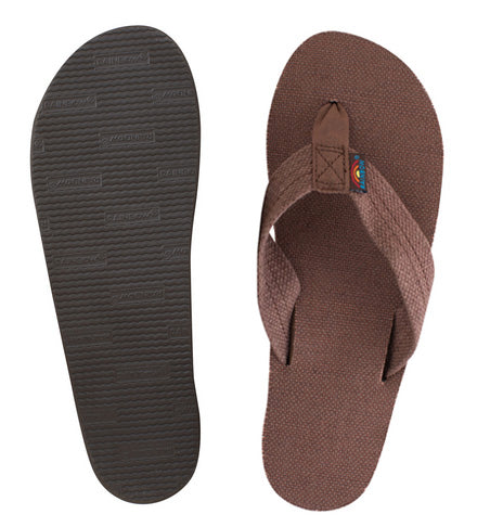 Rainbow - Women's Single Layer Hemp Sandals | Brown