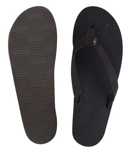 Rainbow - Women's Single Layer Hemp Sandals | Black (Narrow Strap)