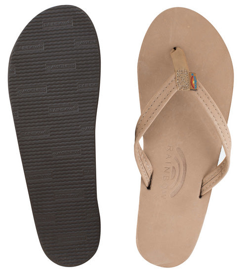 Rainbow - Women's Single Layer Leather Sandals | Sierra Brown (Narrow Strap)