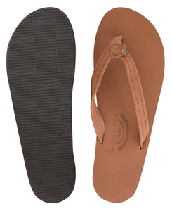 Rainbow - Women's Single Layer Leather Sandals | Tan (Narrow Strap)