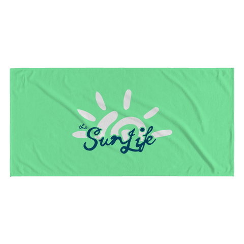 "The Sun Life ""Vibrant"" Green Towel (White/Navy)"