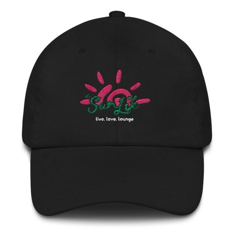 'Vibrant' TSL Hat ~ Black with Green/Pink