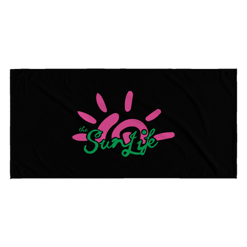 "The Sun Life ""Vibrant"" Black Towel (Pink/Green)"