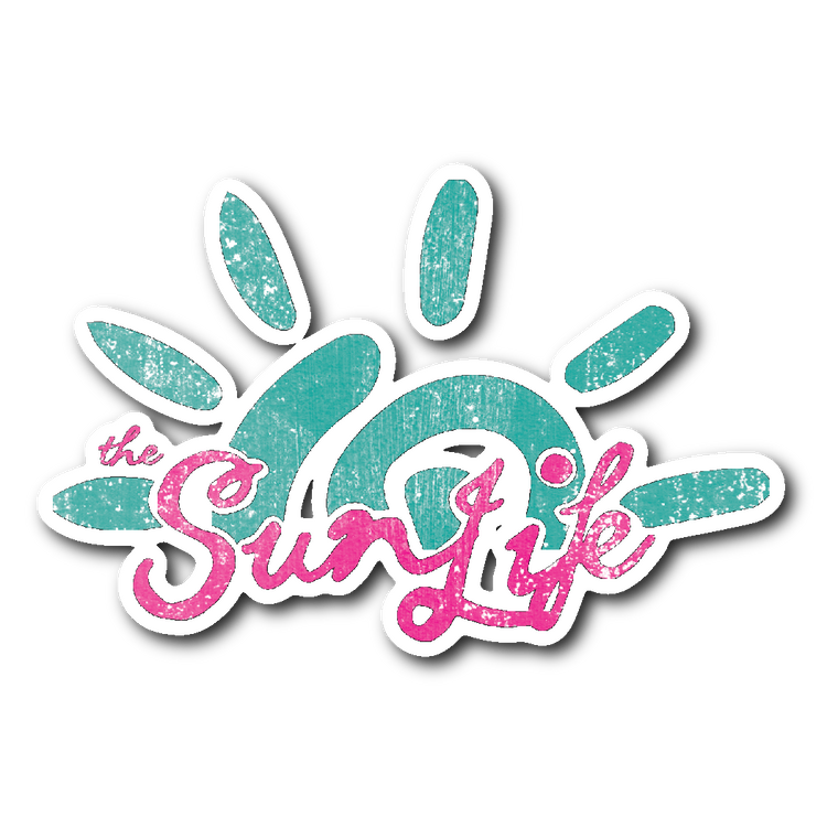 The Sun Life Sticker ~ Aqua/Pink (textured)