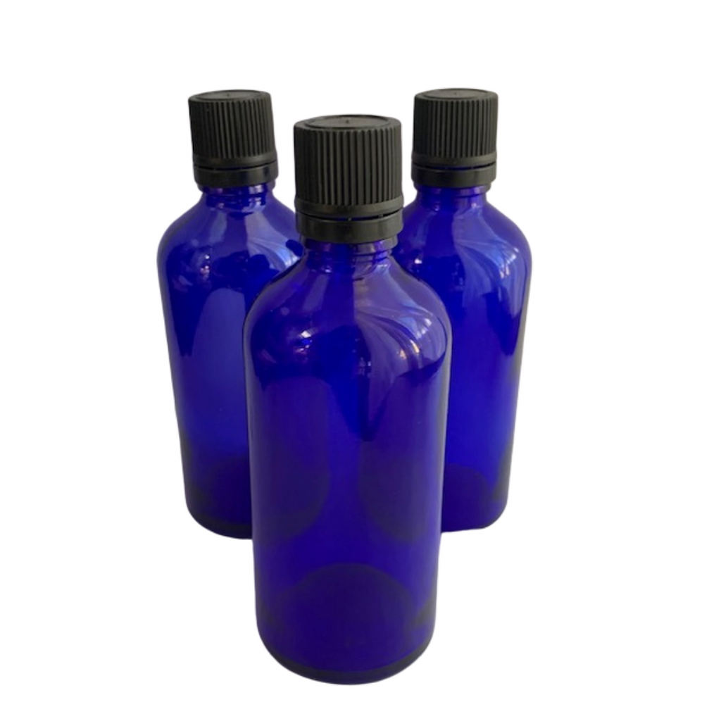 100 mL Blue Glass Bottle with orifice reducer lid (dropper)