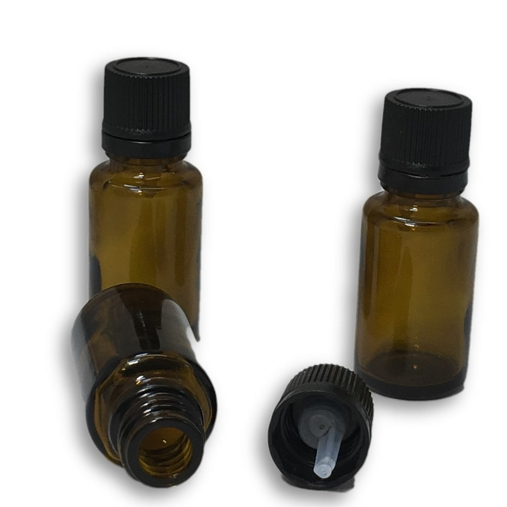 15 ml amber glass bottle with orifice reducer lid (dropper) - karmasuds.com