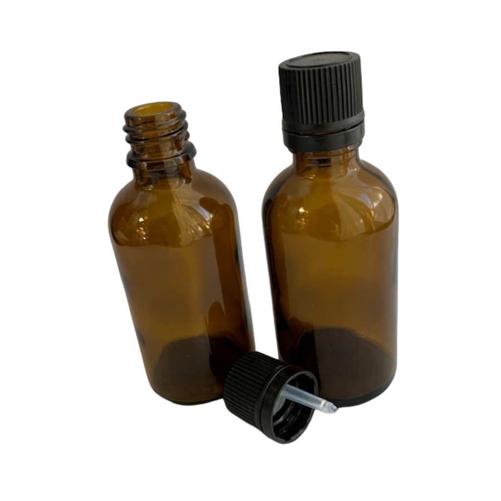 50 mL amber glass bottle with orifice reducer lid (dropper)