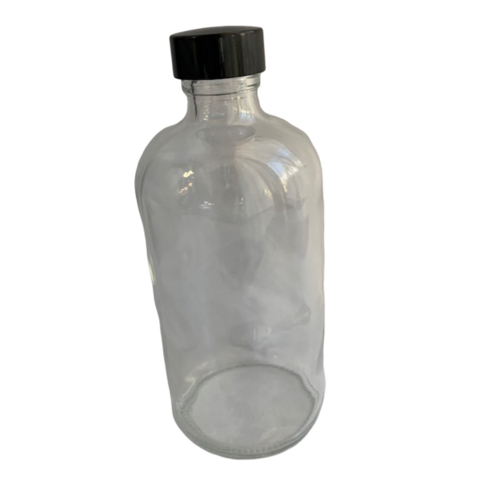 8 ounce clear glass bottle with cap