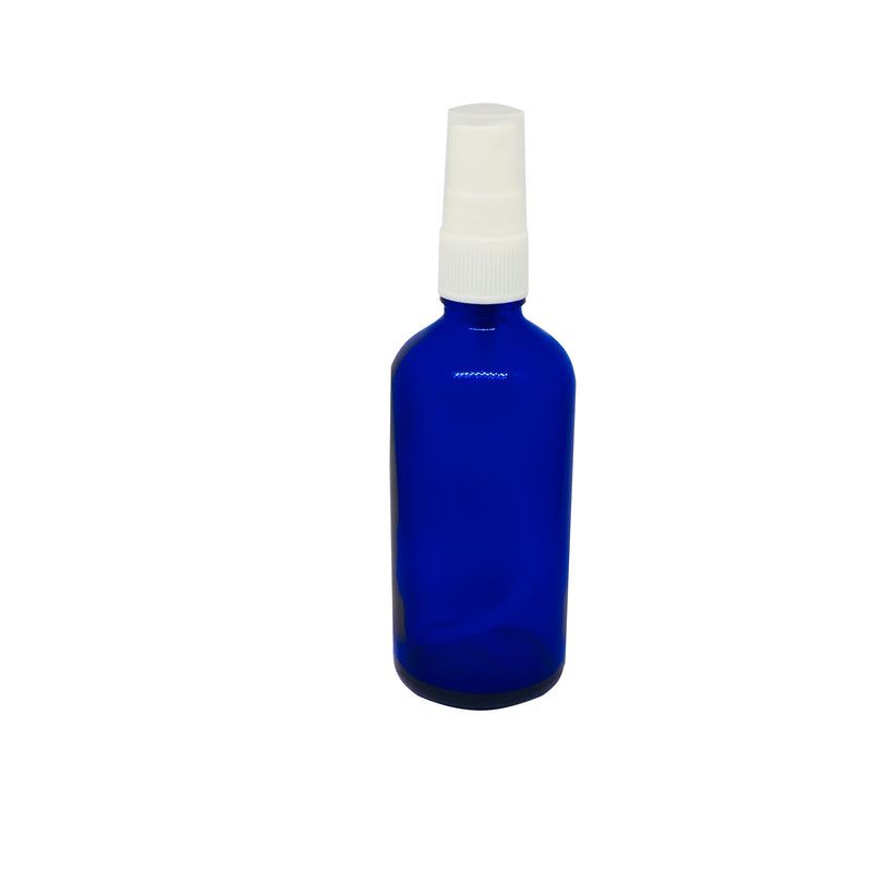 blue glass  bottle with spray top 100 ml,packaging - Karma Suds
