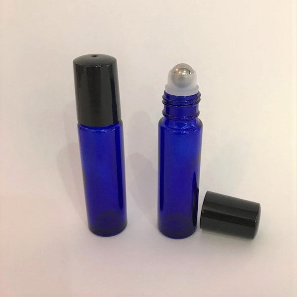 Amber or Blue 10 ml glass roller bottle with lid