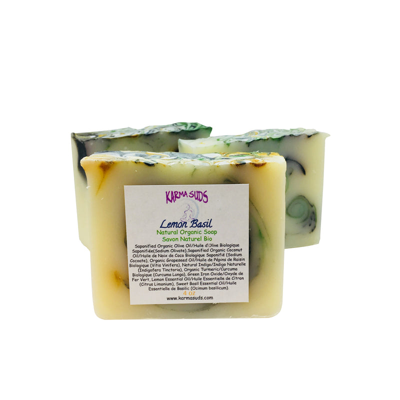 Lemon Basil - Natural Organic Bar Soap - over 4 oz,Soap - Karma Suds