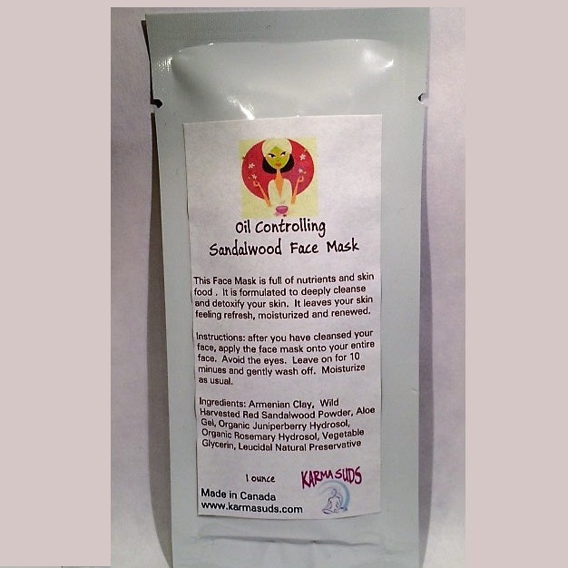 Sandalwood Oil Controlling Mask - 1 ounce packet,Skincare - Karma Suds