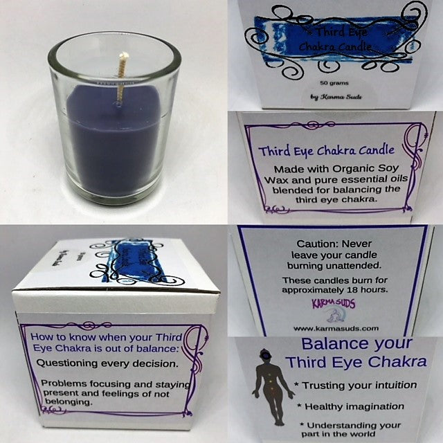 Chakra Candles with Votive Cup - Reiki infused