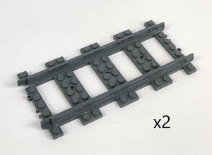 LEGO(R) Plastic Train Track, Straight, Dark Bluish Gray, 2 piece packs
