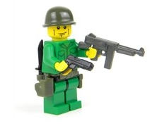 Battle Brick US Army Soldier SMG Custom Minifigure