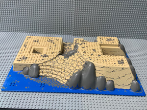 32x48 Raised Lego (R) Baseplate w/ Front & Back Steps & Rocks, Water, Sand 44510pb03