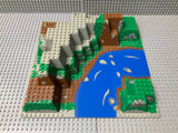 32x32 Raised Baseplate Canyon w/ Brown/Green Mountain, River Rapids Pattern 6024px5 Lego (R)