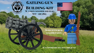 Gatling Gun Building Kit w/ Blue Soldier & Flag
