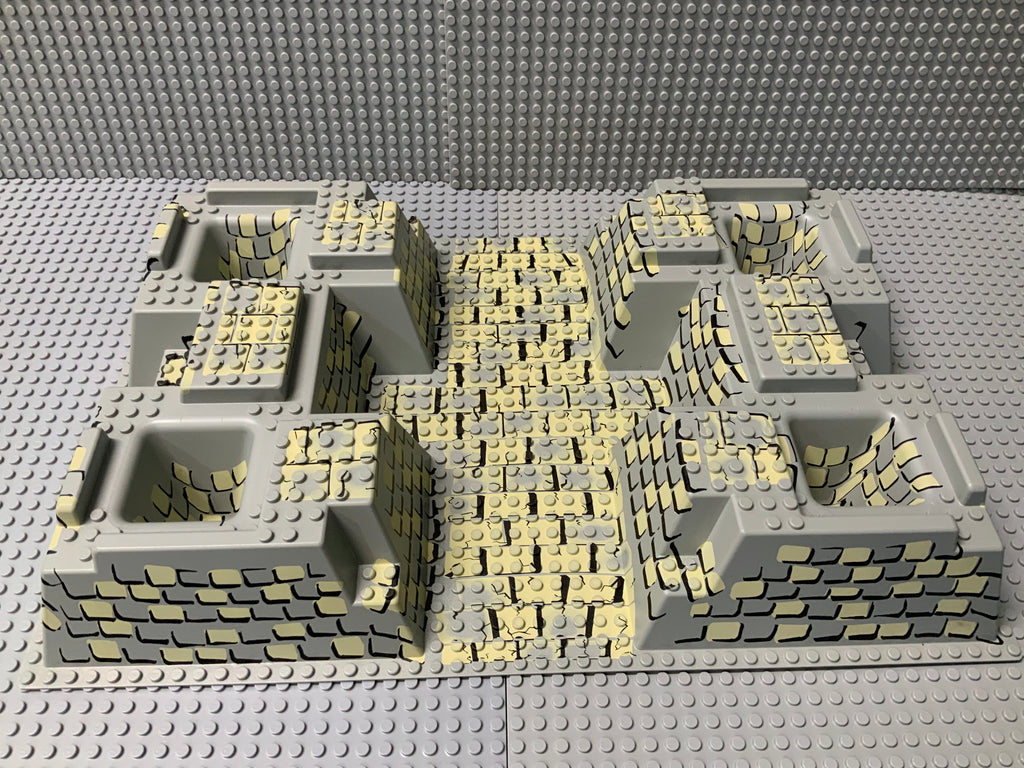 32x48 Raised Baseplate w/ 4 Corner Pits, Tan & Gray Rock Cobblestone Pattern 30271px4 Lego (R)