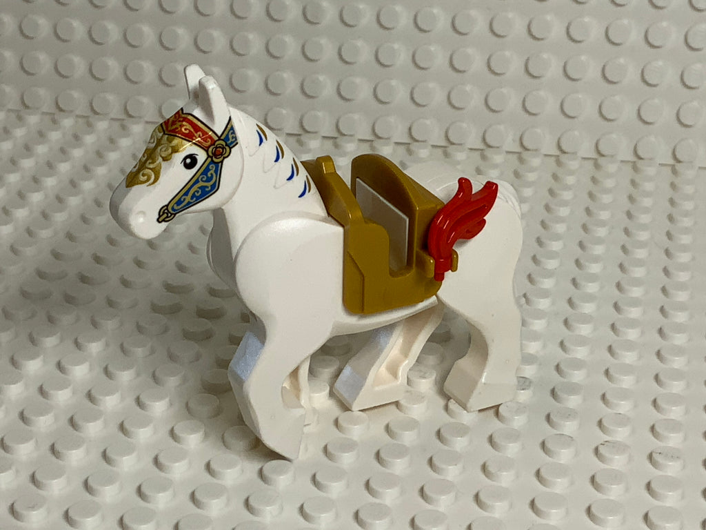 White Lego(R) Horse w/ Movable Legs & Ornate Bridle