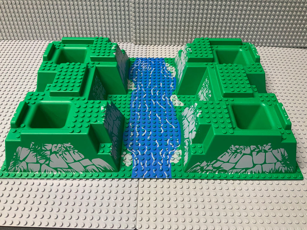 32x48 Raised Baseplate w/ 4 Corner Pits & River Pattern 30271px1 Lego (R)