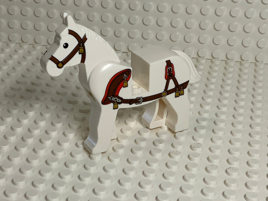 White Lego(R) Horse w/ Ornate Harness & Gold Tassels
