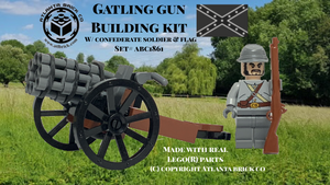 Gatling Gun Building Kit w/ Gray Soldier & Flag