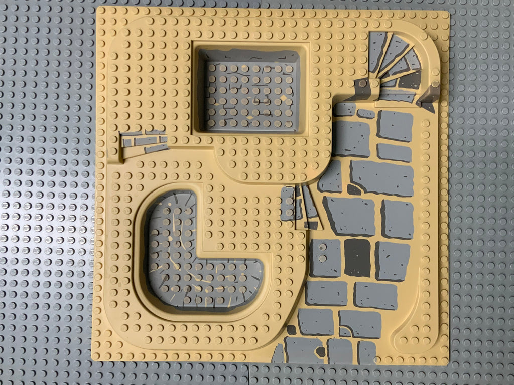 32x32 Raised Baseplate Three Level w/ Slate Ramp and Gray Pool Pattern Tan 6092pb03 Lego (R)