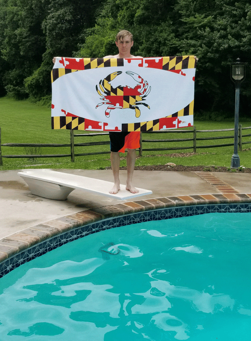 Lax Zone Maryland Flag Crab Towel