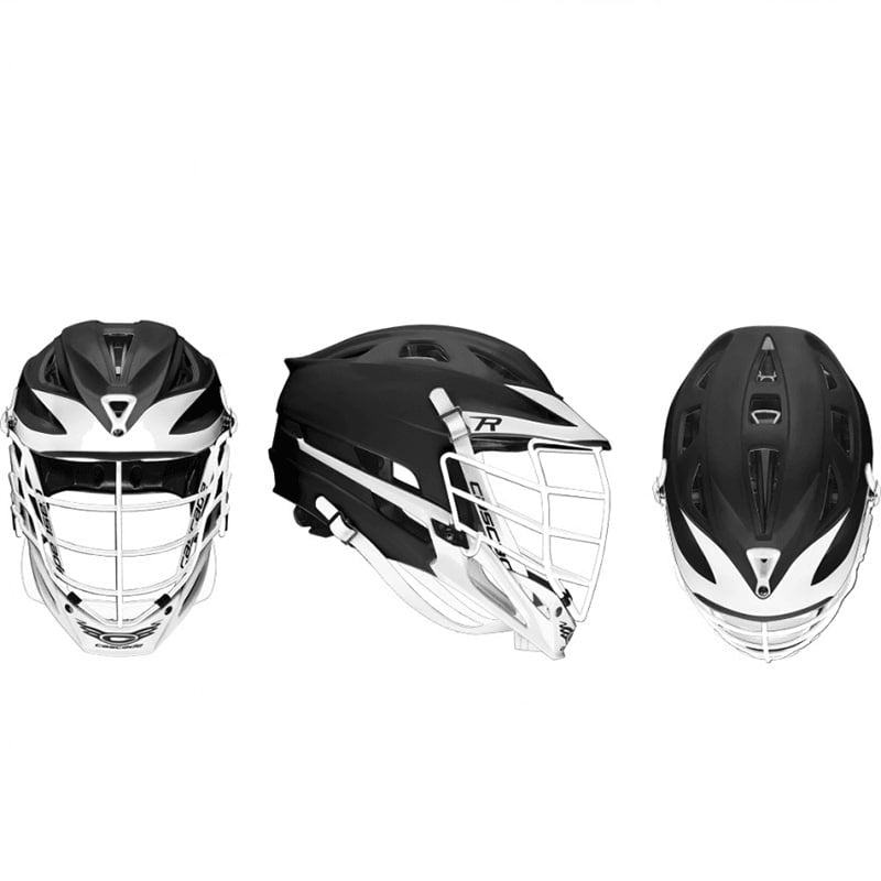 Cascade R Helmet Matte Black Shell White Pearl Mask - Customizable Custom Helmets