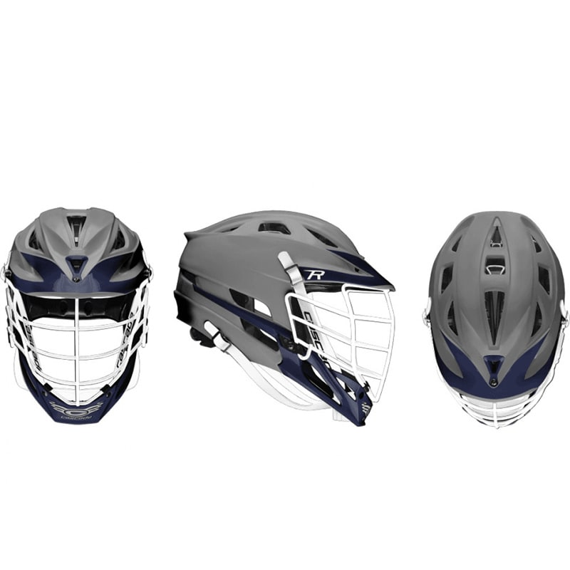 Cascade R Helmet Matte Grey Shell White Pearl Mask - Customizable Custom Helmets