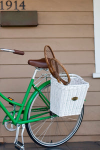 White Woven Pannier Bicycle Basket with handles