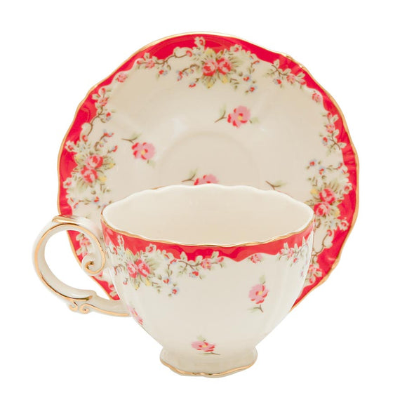 Red Vintage Rose Teacups - set of 4