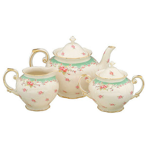 Green Vintage Rose 3 Pc Tea Set - Teapot, Sugar and Cream Pitcher
