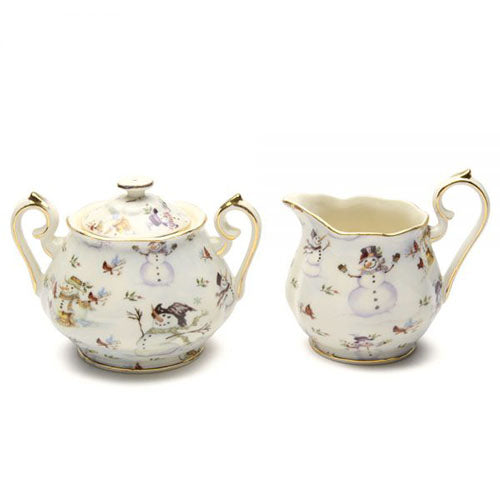 Snowman Sugar Bowl and Cream Pitcher Set