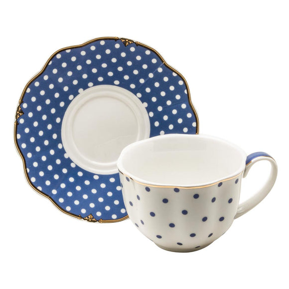 Blue and White Polka Dot Teacups and Saucers - set of 4