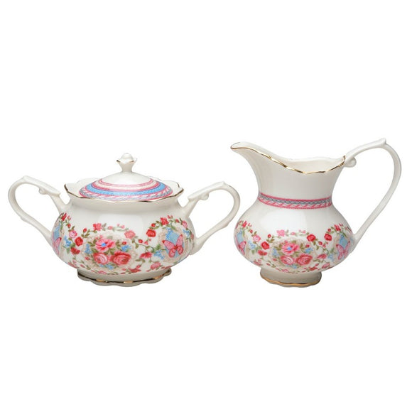 Butterfly Garden Porcelain Sugar Bowl and Cream Pitcher