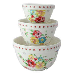 Cream Cottage Rose 3 Piece Mixing Bowl Set