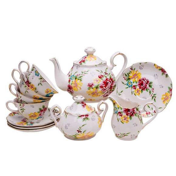Cream Cottage Rose 11 Piece Afternoon Tea Set
