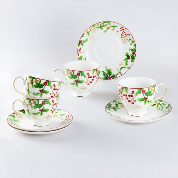 Holly Jolly Christmas Teacups - set of four