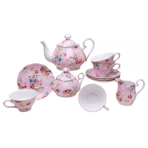 Pink Cottage Rose 11 Piece Afternoon Tea Set