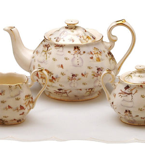 Snowman 3 Pc Tea Set- Teapot, Sugar Bowl, Pitcher - SOLD OUT - Please email us to be placed on the waitlist